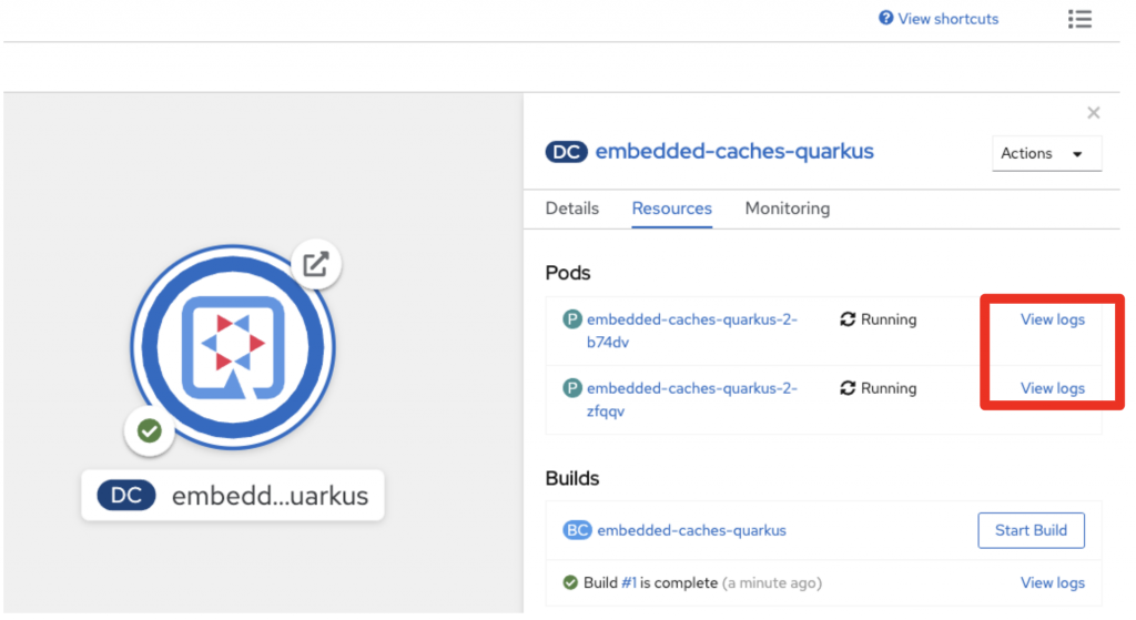The two pods are shown in OpenShift's topology view.