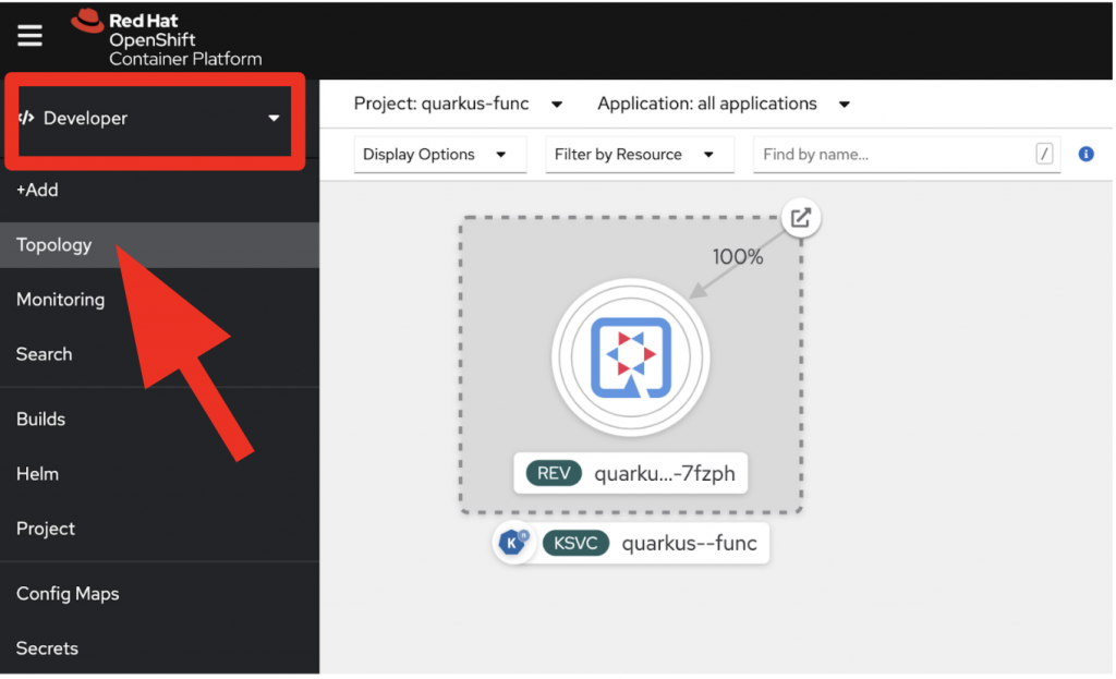 A Quarkus function in the OpenShift Topology view.