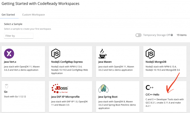 The CodeReady Workspaces Getting Started page lists available workspaces, including any that you've created.