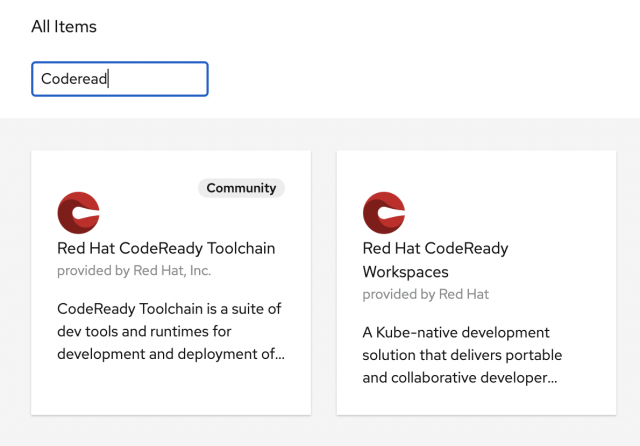 In the search box provided by the OpenShift OperatorHub, search for the CodeReady Workspaces Operator and select it.
