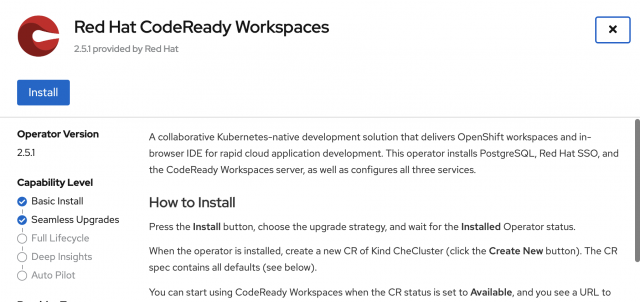 The dialog to install the CodeReady Workspaces Operator.