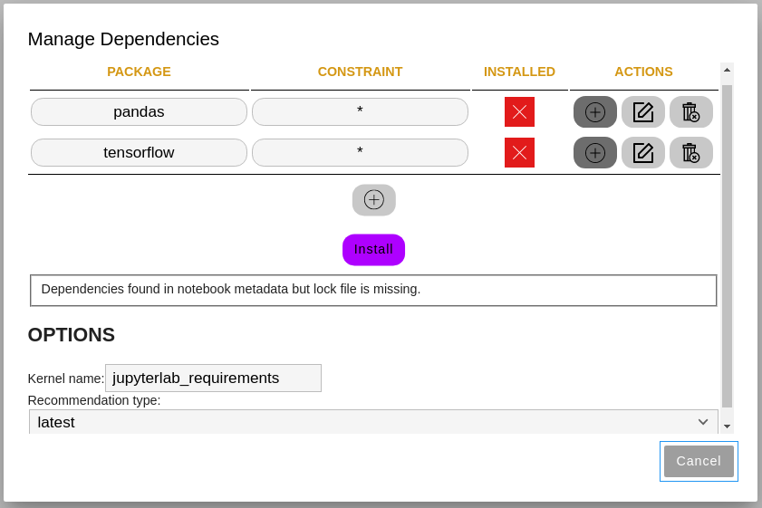 Screenshot of the Manage Dependencies screen with the Install button and sample packages added.