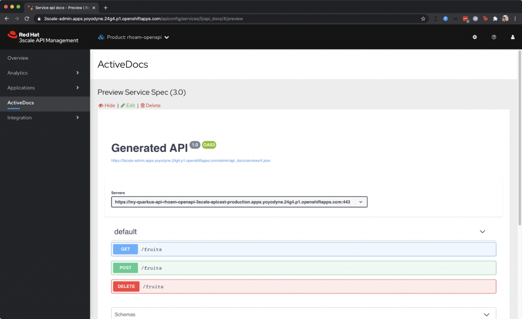 The 3scale API Management ActiveDocs page.