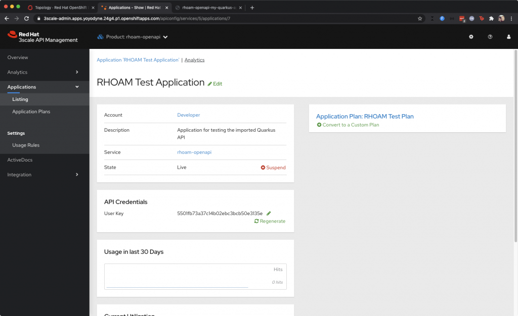 The 3scale API Management Application Details screen.