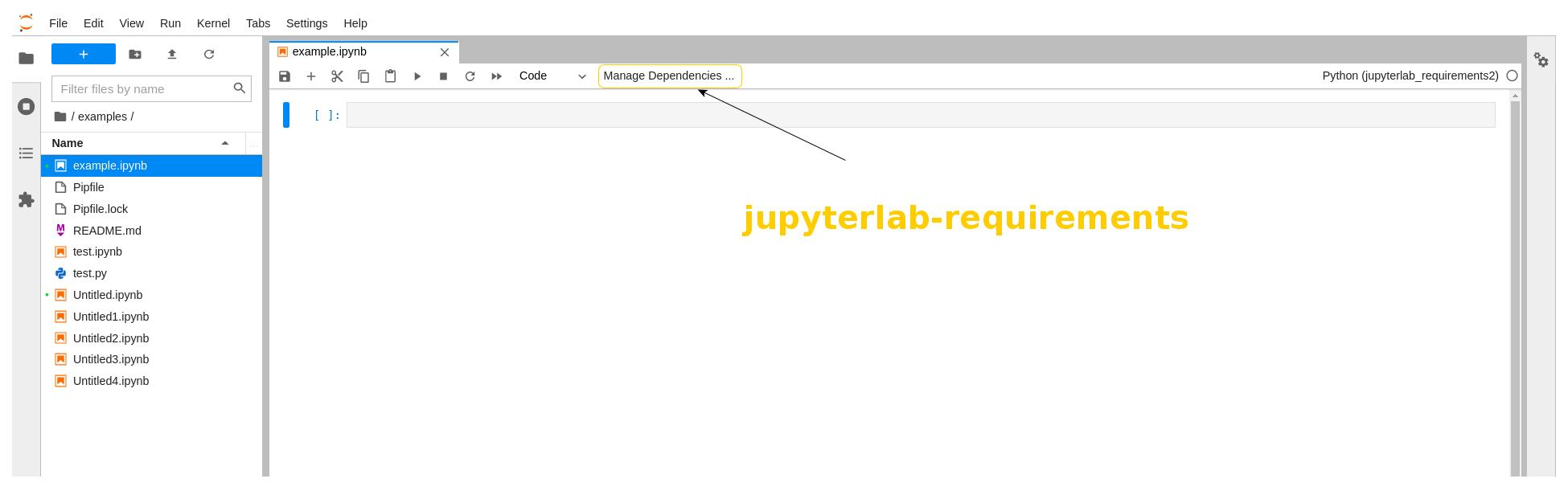 Screenshot of the jupyterlab-requirements extension with the Managed Dependencies menu item highlighted.