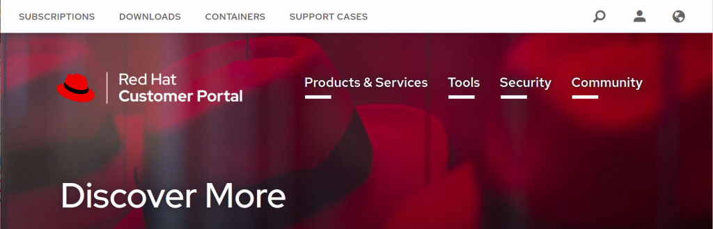 The account icon is shown in the upper-right corner of the Red Hat Customer Portal.