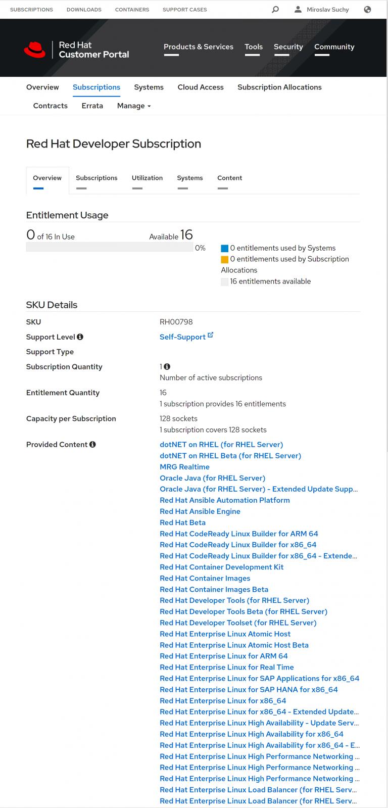 Screenshot of Subscription detail
