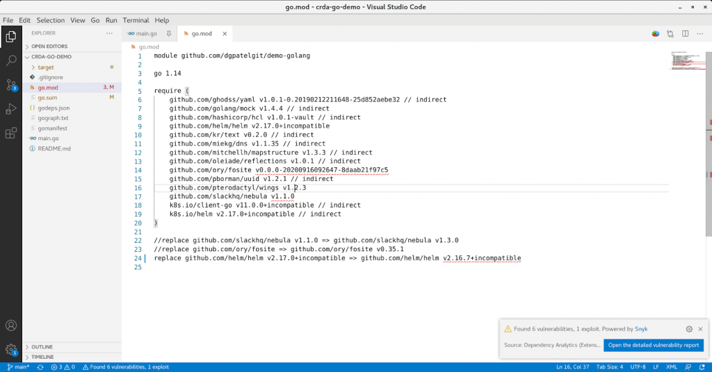 Output from a go.mod file component analysis, with a notification in the bottom left alerting the user to vulnerabilities.