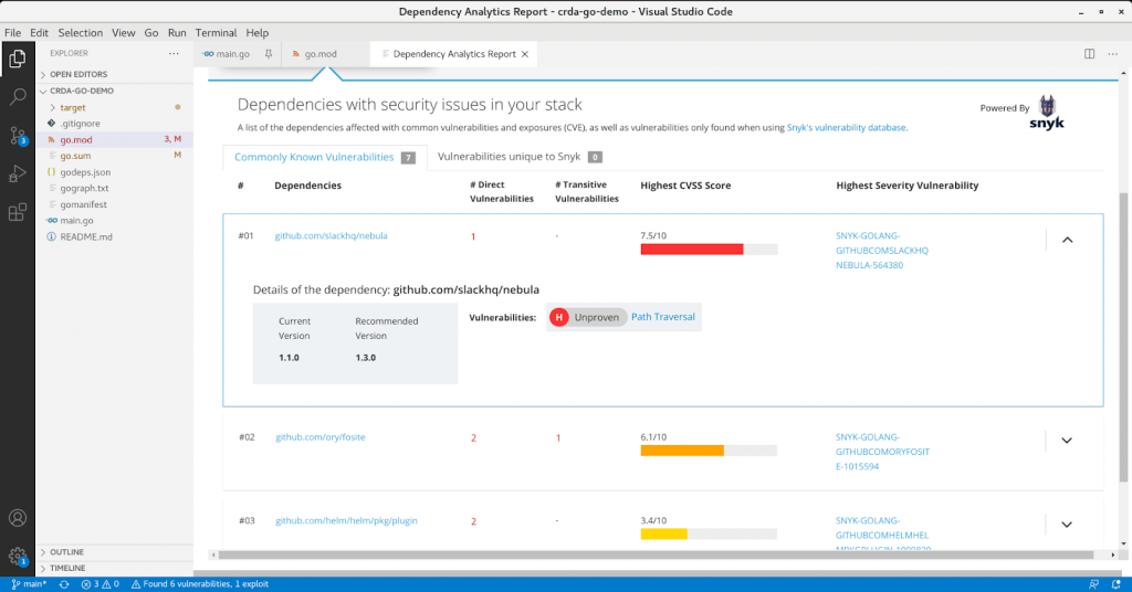 The detailed vulnerability report providing more information about each vulnerable dependency.