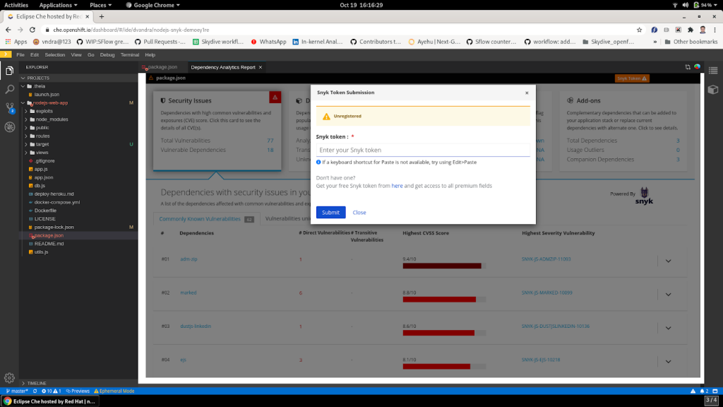 A window prompting the user to enter an existing Snyk token or register a new one.
