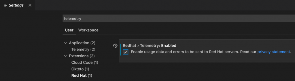 In the extension's settings, the checkbox is clicked to enable usage data to be sent to Red Hat.