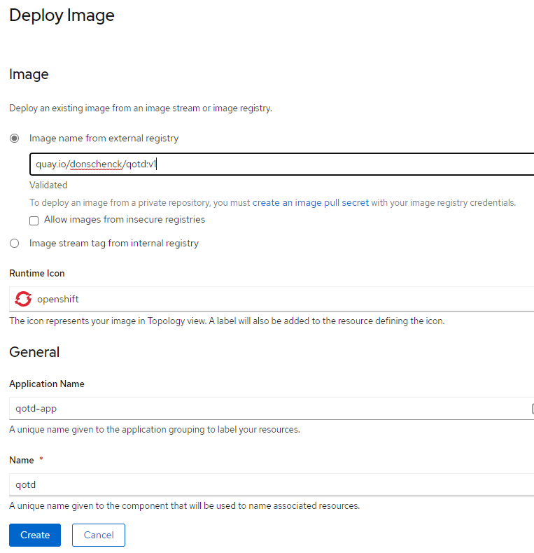 Options for deploying an application using an image from an image registry.