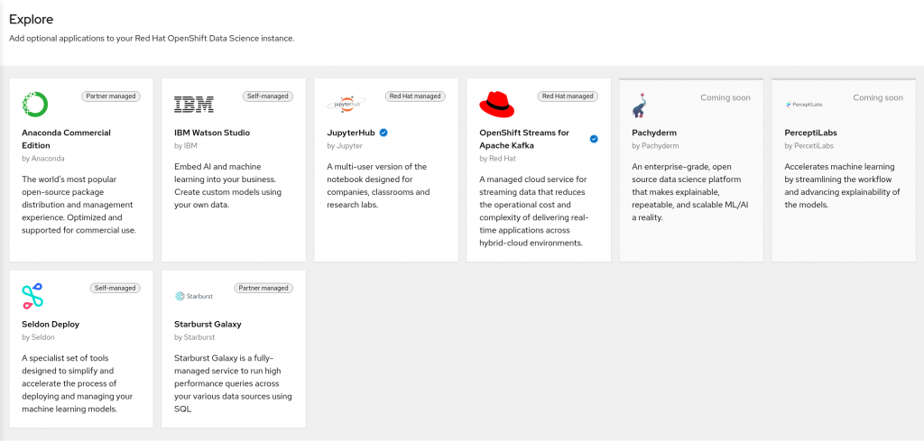 Explore third-party AI/ML tools available for use with OpenShift Data Science.