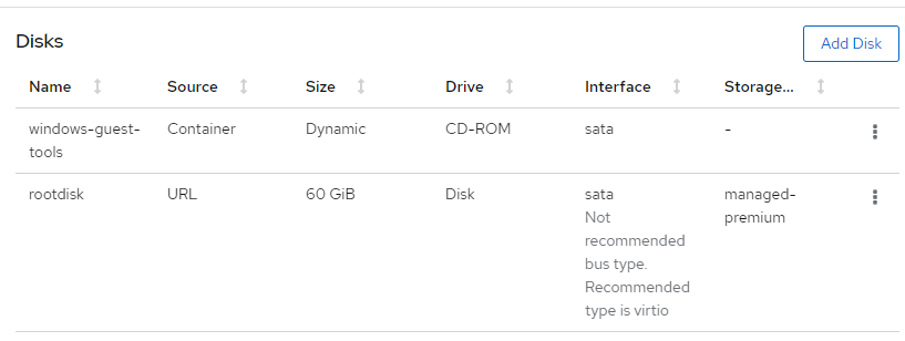Disk storage values edited to support a Windows VM.