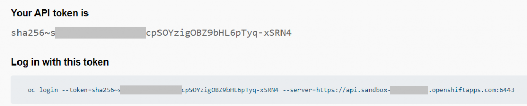 A sample API and login token displayed on the login command page.