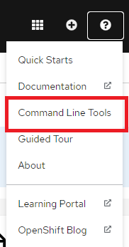 The OpenShift Help options menu, with the Command Line Tools option highlighted.