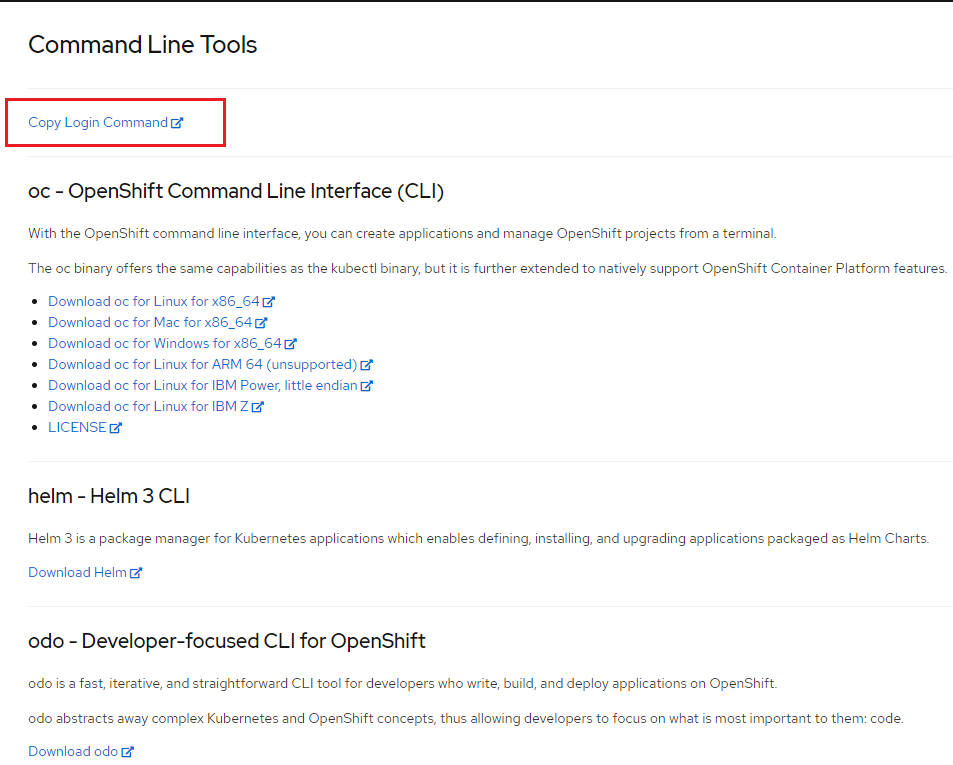 """The OpenShift command line tools page, with """"Copy Login Command"""" highlighted."""