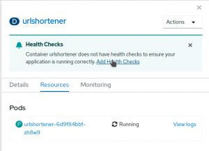 The link to Add Health Checks offers access to OpenShift's health checks.