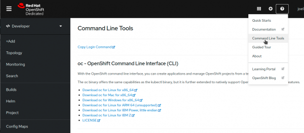 The Command Line Tools page for oc offers downloads for many platforms.