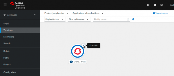 When an image is uploaded and deployed to OpenShift, it can be seen in a Topology view.