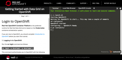 Getting Started with Data Grid on OpenShift Interactive Learning Tutorial