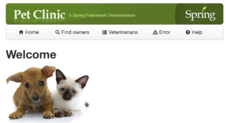 Pet Clinic sample application